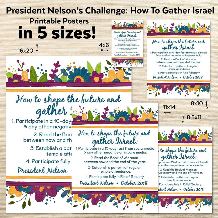 picture about President Nelson Challenge Printable identify President Nelsons Accumulating Israel Concern Poster Printa