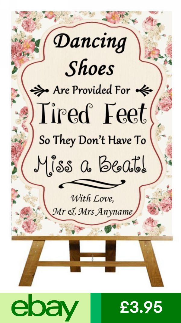 8484c8afd24edf Roses Shabby Chic Dancing Shoes Flip-Flop Tired Feet Personalised Wedding  Sign