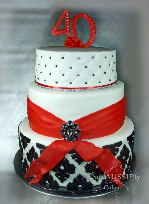 Red Black And White Demask 40th Cake