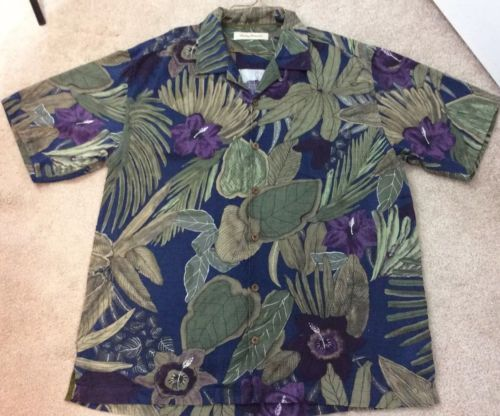 8a30ccf9 Tommy Bahama Men's 100% Silk Blue Multicolored Casual Button Down Shirt Sz  Large