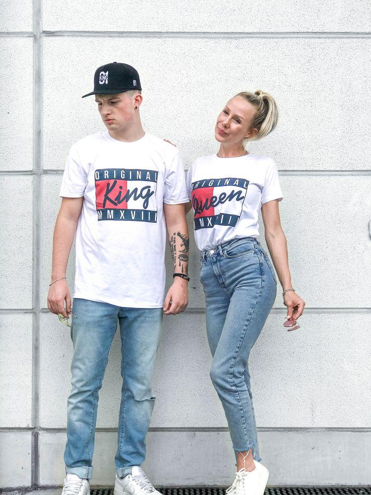 8909c6f570899d Hamburger Haenger ® USA King 01 & Queen 01 T-Shirt Weiss